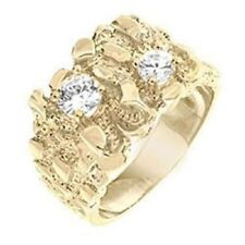 18K GOLD EP CZ ROUND CUT MENS NUGGET  RING size 10 or T 1/2 other sizes avail