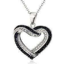 Corazón 2 corazones blanco y negros Cristales Pendiente Colgante Plata de ley