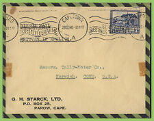 South Africa 1940 3d on airmail cover. 'Send Greetings Telegrams' slogan cancel