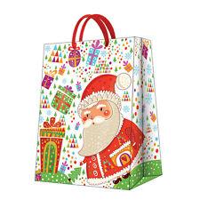Christmas Printed Paper Gift Present Bag SANTA WITH GIFTS Big Santa Claus / D