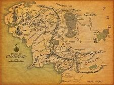 Map of Middle Earth Lord Of The Rings 24X36 inch Poster, wall decor,