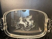 VINTAGE LG LUCITE SERVING TRAY ETCHED GLASS HORSES TWISTED HANDLE