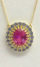 Gold Plated Silver Pink Sapphire and Blue Spinnel Necklet.