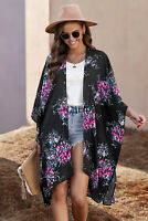 Black Pink Blue Floral Crepe Women Beach Kimono Beach Cover Up Top One Size 6-12