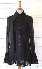 Vintage 90s Chloe Black Sheer Ruffled Crochet Blouse Eur 40/US 6 Made in France