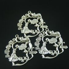09924 Antiqued Silver Girl in Wonder World Note Board Cat Pendant Charm 10pc