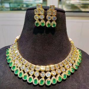 Pakistani Indian Bollywood American Diamond Gold Plated Designer Choker Necklace