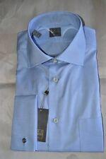 $225 NWT IKE BEHAR Gold 15.5 e39 BLUE s120's Cotton french cuff dress shirt USA