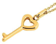 Halskette Schlüssel Herz Anhänger Gold-farbig Edelstahl Ankerkette 48 Cm