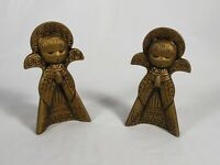 "Gold Tone Ceramic Set Of Angels 5"" Tall Christmas Angels Decor"