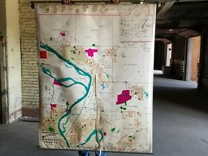 Madison County historical pull down map by Hearne Brothers, vintage