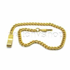 "Chain 14"" Belt Clip Mens Accessory Fc39 Retro Gold Link Pocket Watch Fob Brass"