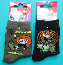 LOT 2 PAIRES DE CHAUSSETTES 23/26 fille noir kaki KIM POSSIBLE DISNEY NEUF