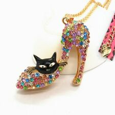 Betsey Johnson Black Cat Stiletto Heel Gold Pendant Chain Necklace Free Gift Bag