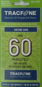 TracFone 60 Minutes / 90 Days AIRTIME CARD. Fast ASAP e-delivery.