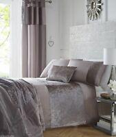 Mink Taupe Crushed Velvet Duvet Cover Velvet Panel Quilt Cover Set Bedding Range