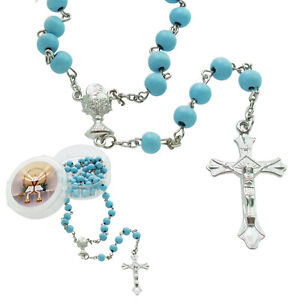 12 PCS First Communion Favor Blue Scented Rose Petal Rosary Necklace Gift