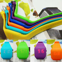Hot  Mens Womens Touch Red LED Digital Display Silicone Sports Wrist Watch
