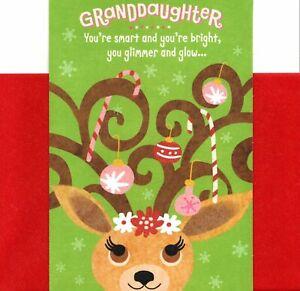 Merry Christmas Granddaughter Adorable Girl Reindeer Theme Hallmark Card