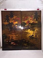 2 PANELS ASIAN WALL ART Brown Red Orange WOOD PLANK PAINTING LACQUER FINISH