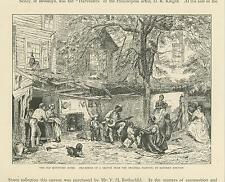 ANTIQUE OLD KENTUCKY HOUSE EASTMAN JOHNSON HOME FAMILY DANCING BANJO DOG PRINT