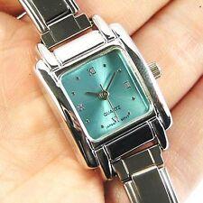 Square Baby Blue Stainless Steel Italian Charms Bracelet Quartz Wrist Watch BB01