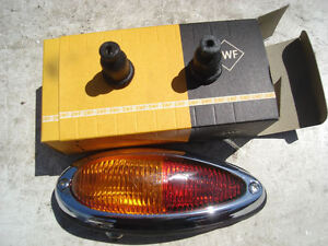 PORSCHE 356 NOS TAIL LIGHTS LIGHT LAMPS LEFT SIDE ONLY NEW OLD STOCK RED AMBER
