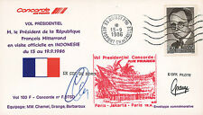 "FFC on board ""CONCORDE Flight Paris-Dubai-Jakarta / MITTERRAND"" 1986 AUTOGRAPH"