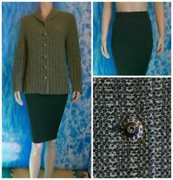 ST JOHN Collection Knit Cream Green Jacket Skirt L 10 12 2pc Suit Buttons Collar