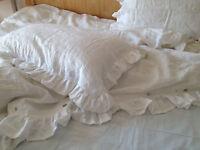Shabby Pre washed Natural 100% Linen Ruffle Pillow sham pillow case ruffled