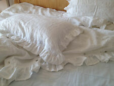 Shabby Pre washed pure Linen Ruffled Pillow sham pillow case
