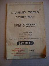 STANLEY TOOL DOMESTIC PRICE LIST 1961 PLANES YANKEE SCREWDRIVERS DRILLS BITS ETC