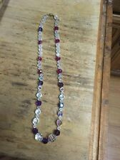 """vintage crystal faceted bead necklace, 24"""" clear and red beads"""