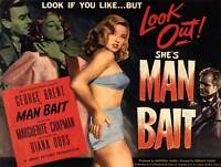 ADVERTISING MOVIE FILM MAN BAIT DIANA DORS ART PRINT POSTER BB7532