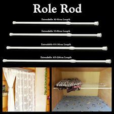 EXTENDABLE NET RAIL Voile Curtain Spring Tension WHITE Pole Rod loaded