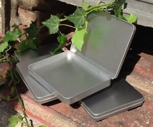 Rectangle Metal Tin with Hinged Lid 350ml *Crafts Pens Stash 169mm x 130mm *NEW