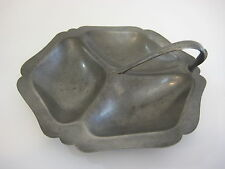 "Crescent Pewter Divided Sectional Serving Dish W/ Handle, 8"" x 7 1/2"" x 2 1/2"" H"