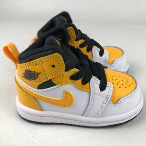 Nike Air Jordan 1 Mid TD Shoes University Gold 640735-170 Toddler Baby Size 3C