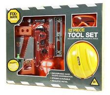 Kids Boys Tool Set DIY Safety Hat Goggles Saw, Wrench Childrens Toy New 3+