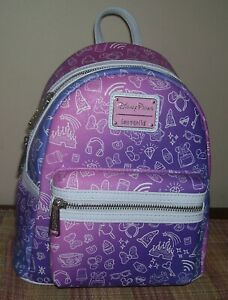 Loungefly Disney Parks Ombre Purple Pink Icons Mini Backpack Bag NEW