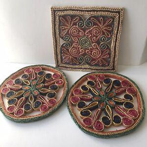 3 Raffia Woven Straw Rattan Trivets Hot Pads Vtg Natural Colorful
