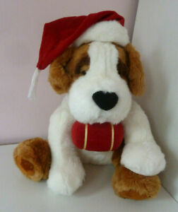 Russ Berrie Bernie St. Bernard Christmas Hat & Barrel Soft Plush Stuffed Toy 9""