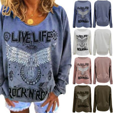 Damen Mode Pullover Langarm Bluse Oberteile T-Shirt Baggy Freizeit Tunika Tops