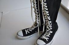 CONVERSE Chuck Taylor Knee High Tall Lace Up Zip Black Boots Women's 10 Men's 8