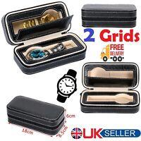 2 Slots PU Leather Watch Storage Case Organizer 2 Grids Watches Zip Up Closure