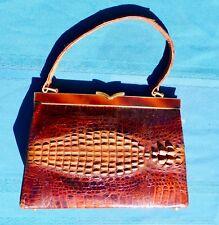 Vintage1940's Crocodile Handbag Brown Enamel across the top for Closure