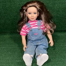 "Vintage 1997 23"" My Twinn Doll Blue Eyes Blonde Brown Hair Pink Shirt Overalls"