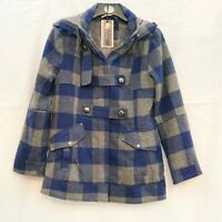 BEAUE SOLE BLUE GREY CHECK DUFFLE STYLE COAT WITH HOOD SIZE 14 REGULAR