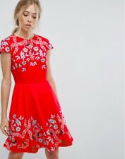 b5d71f250 TED BAKER RED TUCK KYOTO SKATER DRESS FLORAL BUTTERFLY 4 14 Us 10 EU 42 BNWT