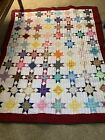 HAND SEWN QUILT OHIO STAR PATTERN 61X74 NEVER USED
